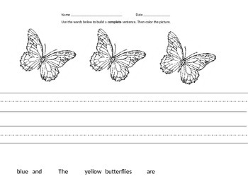 Mixed Up Sentences - Butterflies