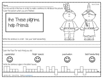 Mixed Up Sentences - Thanksgiving Edition