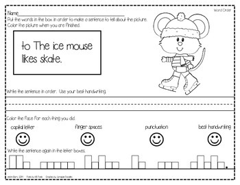 Mixed Up Sentences - Winter Mouse Edition
