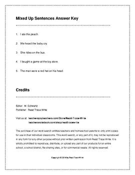 Mixed Up Sentences Worksheets Writing Practice (Grades 2-3)