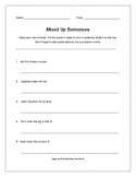 Mixed Up Sentences Worksheets Writing Practice (Grades 2-3)