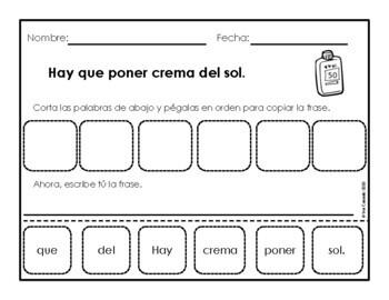 Spanish Mixed Up Sentences (Summer theme)
