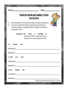 Mixed Up Sentences to Questions with Auxiliary Verbs:Is, Are, Could, Would