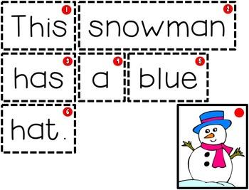 Mixed Up Snowman Sentences: a FREE pocket chart literacy centre activity