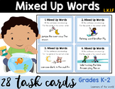 Mixed Up Words Scoot Task Cards L.K.1.F (Expanding Sentences)