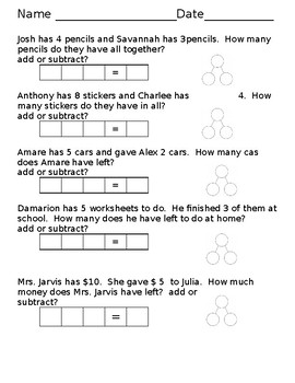Mixed Word Problems - Add and Subtract single digits