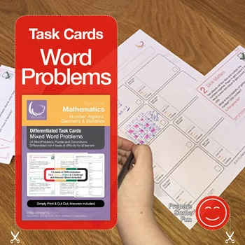 Mixed Math Word Problems Task Cards