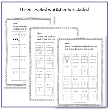 FREE differentiated mixed addition and subtraction worksheets