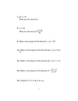 Mixed algebra questions