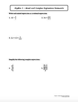 Mixed and Complex Expressions (Lesson Plan with Homework)