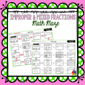 Mixed and Improper Fractions Math Maze