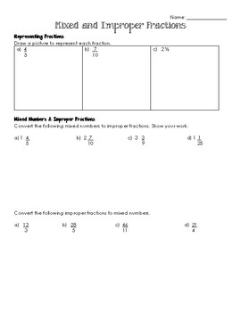 Mixed and Improper Fractions Quiz