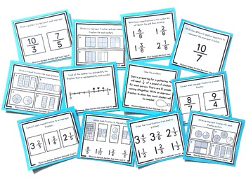 Mixed and Improper Fractions Task Cards | Fraction Practice