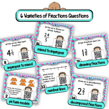 Mixed and Improper Fractions Task Cards (QR Code Version)