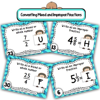 Mixed and Improper Fractions Task Cards with Coded Joke Answer Document