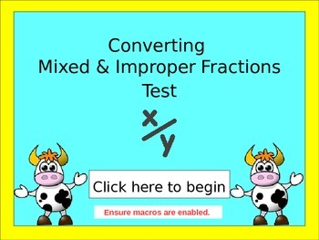 Mixed and improper fractions test quiz 4th 5th 6th 7th