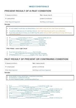 Mixed conditionals pop-up quiz
