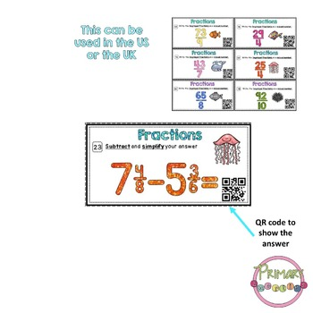 Mixed numbers and improper fractions Task Cards with QR Codes