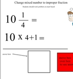 Mixed numbers and improper fractions with quiz
