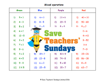 Mixed operations in numbers lesson plans, worksheets and more