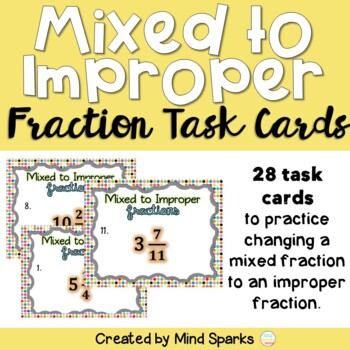 Mixed to Improper Fraction Task Cards