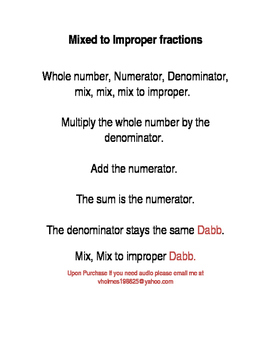 Mixed to Improper Fractions