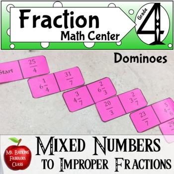 Fractions Mixed to Improper Fraction Dominoes