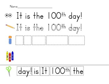 Mixed up sentence for the 100th day of school