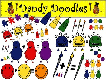 Mixing Primary Colors Clip Art by Dandy Doodles