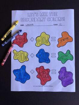 Mixing Secondary Color Worksheet