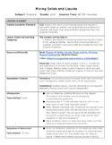 Mixing Solids and Liquids Lesson Plan