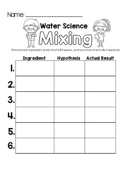 Mixing with Water Science Worksheet