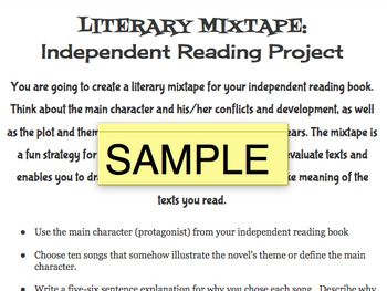 Mixtape Project for Independent Books or Class Novel