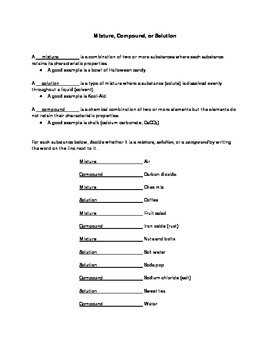 Mixture, Compound, or Solution Worksheet with Answers