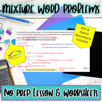 Mixture Problems with Linear Systems Mini Lesson with Worksheet & Key