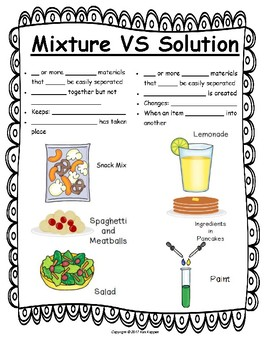 mixture vs solution notes by pin it to teach it tpt. Black Bedroom Furniture Sets. Home Design Ideas