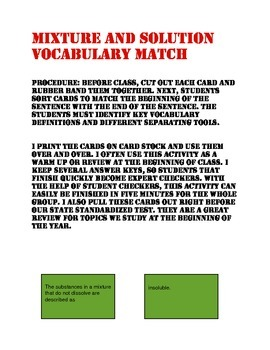 Mixture and Solution Vocabulary Match Up