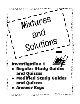 mixture and solutions investigation 1 study guides and quizzes tpt rh teacherspayteachers com Mixtures and Solutions Worksheets chapter 15 mixtures and solutions study guide answers