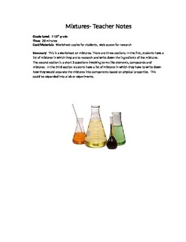 Mixtures: A worksheet on types and properties of mixtures