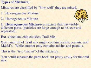 Mixtures - Homogeneous, Heterogeneous, and Solutions Power Point
