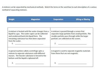 Mixtures Interactive Notebook items