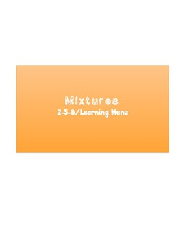 Mixtures Learning Menu