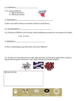 Mixtures Quiz, Test, or Pretest