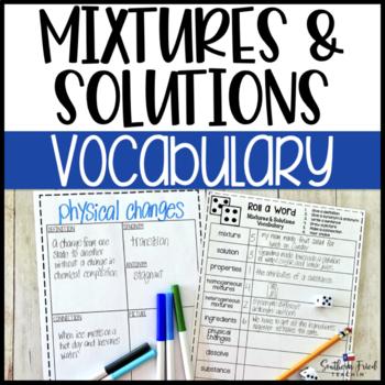Mixtures & Solutions Fun Interactive Vocabulary Dice Activity EDITABLE