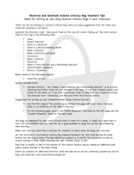 Mixtures & Solutions Science Literacy Bag Download
