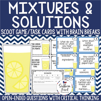 Mixtures & Solutions Scoot Game/Task Cards