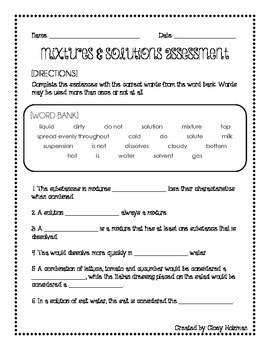 Mixtures & Solutions Unit Bundle