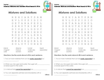Mixtures & Solutions Word Search & Fill in the Blank