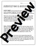 Mixtures & Solutions Worksheet