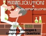 Mixtures, Solutions, and Suspensions Differentiated NF Reading Passages